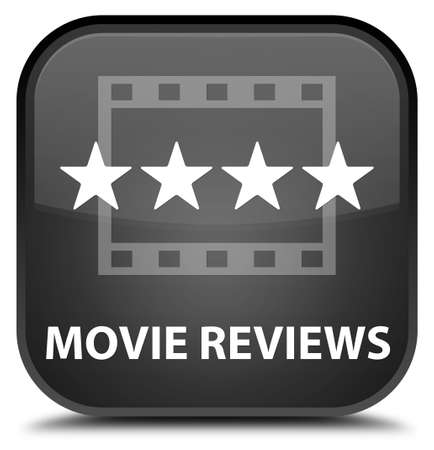 square button: Movie reviews black square button Stock Photo