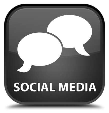 chat bubble icon: Social media (chat bubble icon) black square button Stock Photo