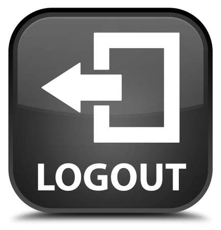 log off: Logout black square button