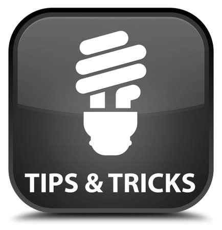 incandescence: Tips and tricks (bulb icon) black square button Stock Photo