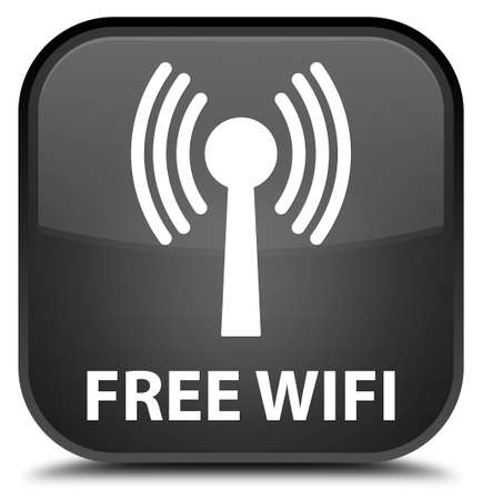 wlan: Free wifi (wlan network) black square button Stock Photo