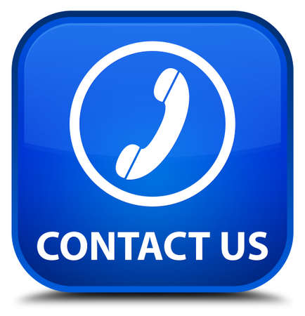 phone button: Contact us (phone icon round border) blue square button Stock Photo