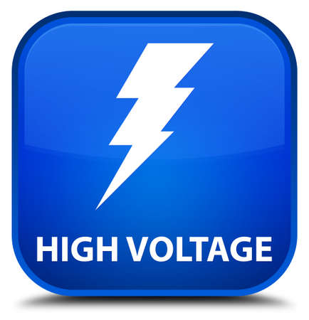 high voltage: High voltage (electricity icon) blue square button Stock Photo