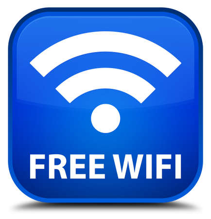 crossover: Free wifi blue square button Stock Photo