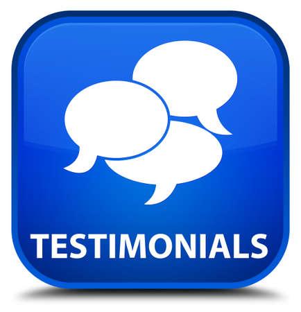 comments: Testimonials (comments icon) blue square button