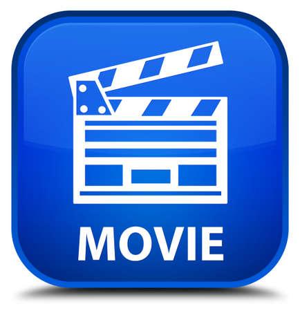 Movie (cinema clip icon) blue square button