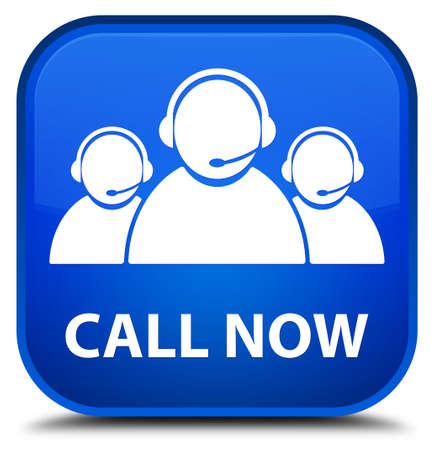 square button: Call now (customer care team icon) blue square button Stock Photo