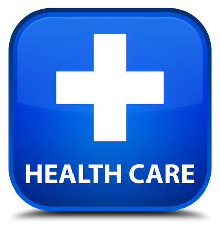 plus sign: Health care (plus sign) blue square button