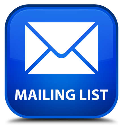 flysheet: Mailing list blue square button Stock Photo