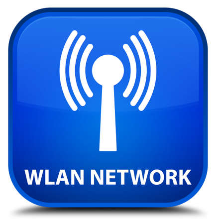 wlan: Wlan network blue square button Stock Photo