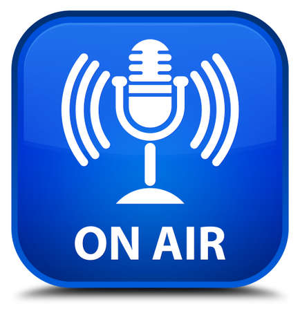 voices: On air (mic icon) blue square button Stock Photo