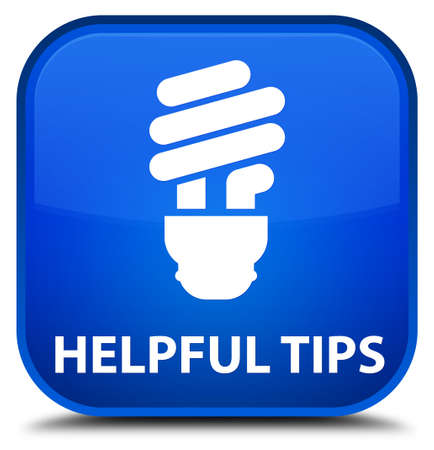 helpful: Helpful tips (bulb icon) blue square button