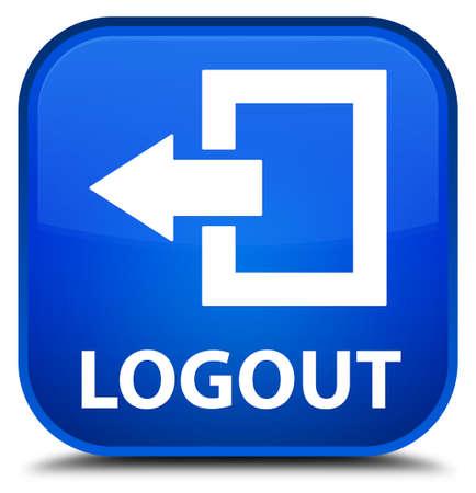 log off: Logout blue square button