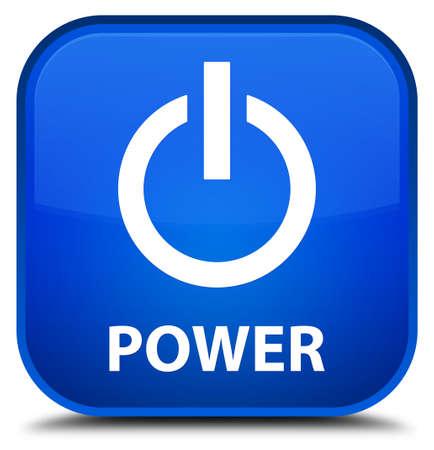 shut off: Power blue square button