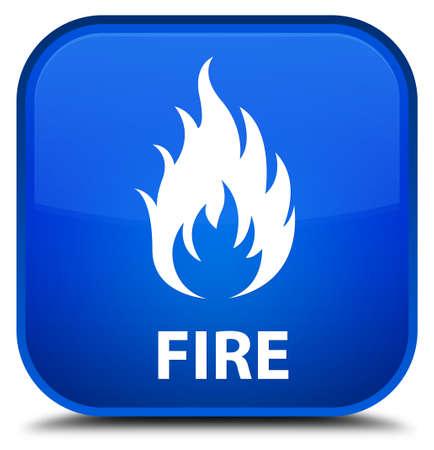 square button: Fire blue square button Stock Photo