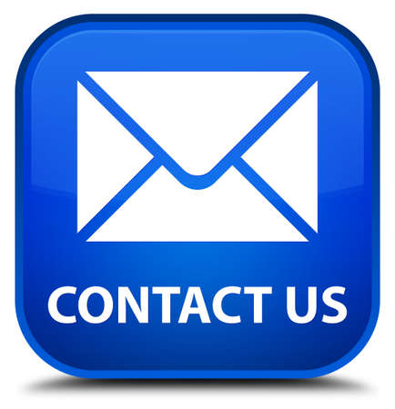 email contact: Contact us (email icon) blue square button Stock Photo