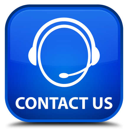 consultants: Contact us (customer care icon) blue square button