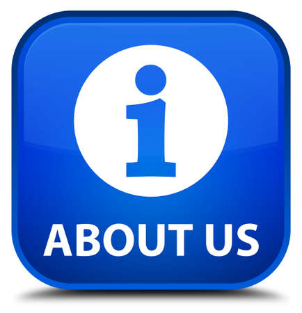 'about us': About us blue square button