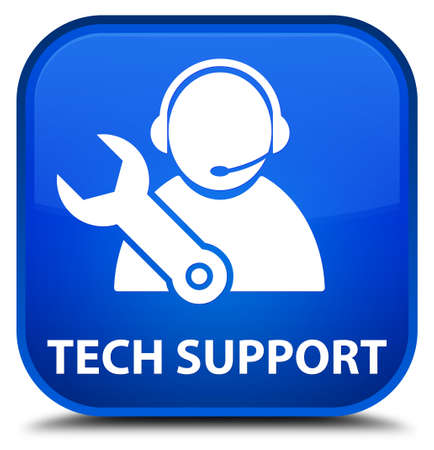 tech support: Tech support blue square button