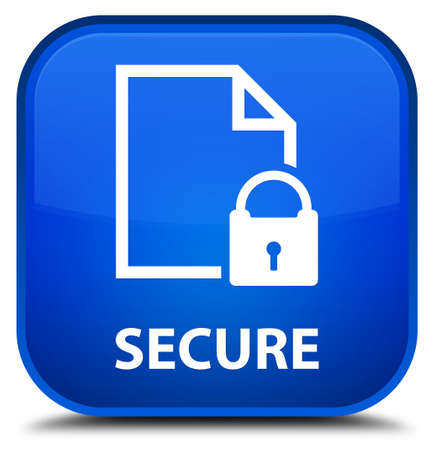 insecure: Secure (document page padlock icon) blue square button