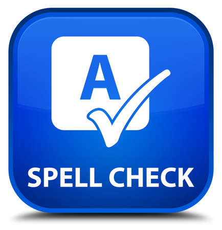 spell: Spell check blue square button Stock Photo