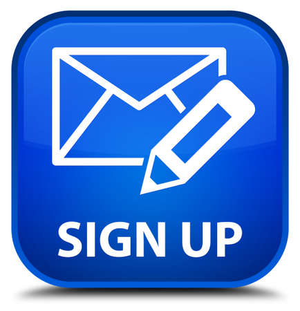 sign up: Sign up (edit mail icon) blue square button