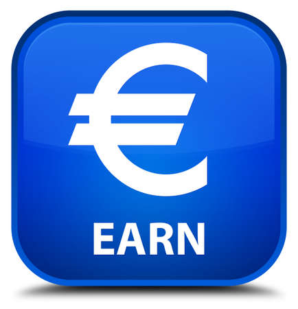 earn: Earn (euro sign) blue square button Stock Photo
