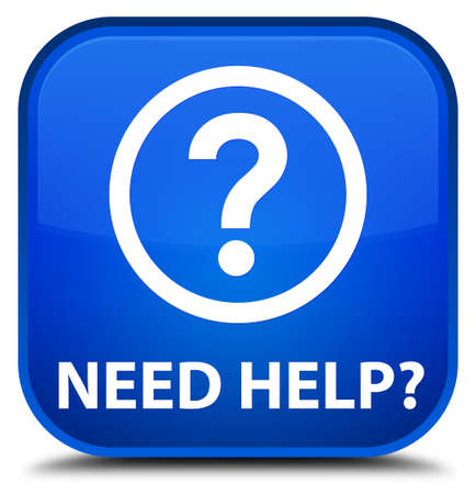 need: Need help (question icon) blue square button Stock Photo