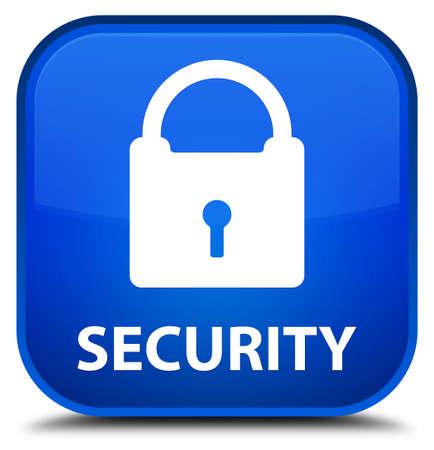 key hole shape: Security (padlock icon) blue square button Stock Photo