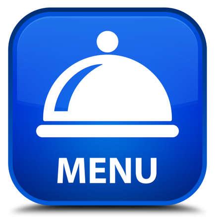 cater: Menu (food dish icon) blue square button Stock Photo