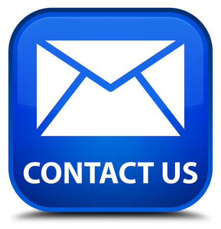 flysheet: Contact us (email icon) blue square button Stock Photo