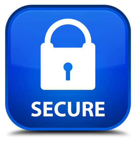 key hole shape: Secure (padlock icon) blue square button Stock Photo