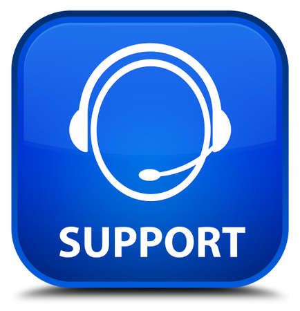 customer care: Support (customer care icon) blue square button Stock Photo