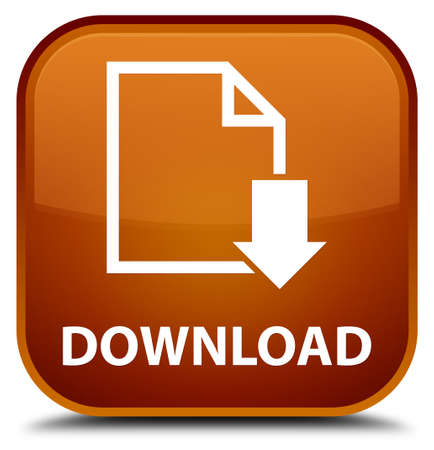 download: Download (document icon) brown square button Stock Photo