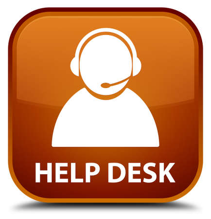 customer care: Help desk (customer care icon) brown square button