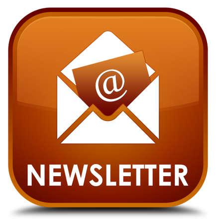 flysheet: Newsletter brown square button Stock Photo