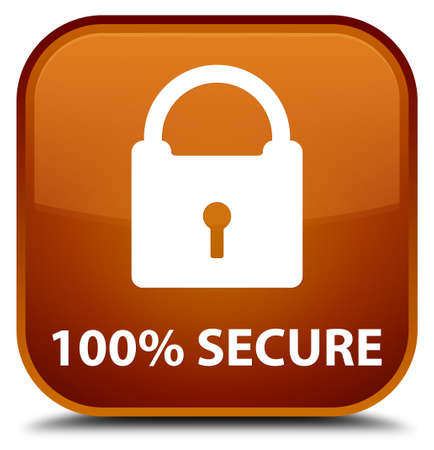 secure: 100% secure brown square button