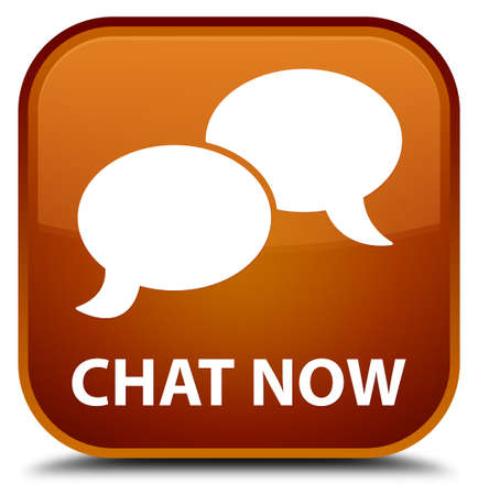 instant message: Chat now brown square button