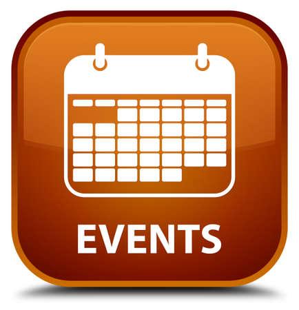 calendar icon: Events (calendar icon) brown square button Stock Photo