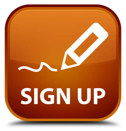 sign up: Sign up brown square button