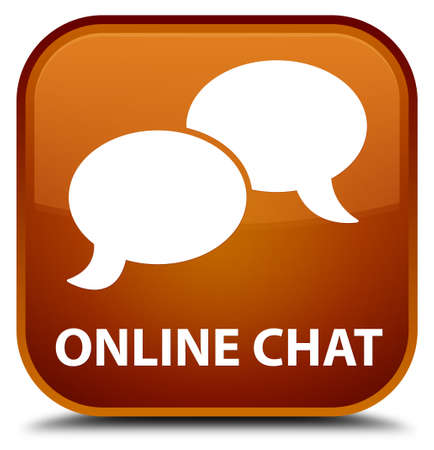 instant message: Online chat brown square button