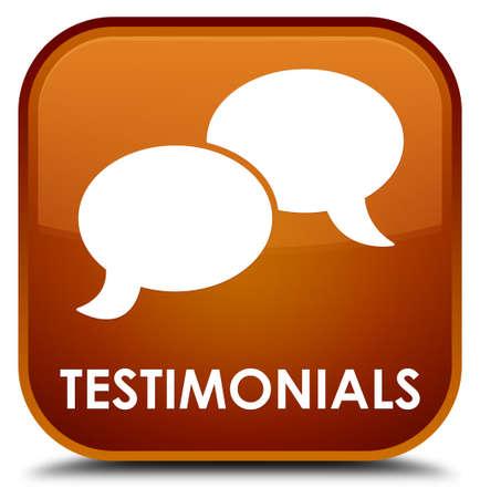 authenticate: Testimonials (chat icon) brown square button