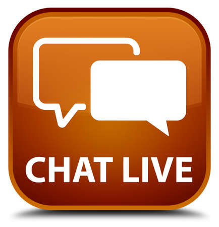 instant message: Chat live brown square button