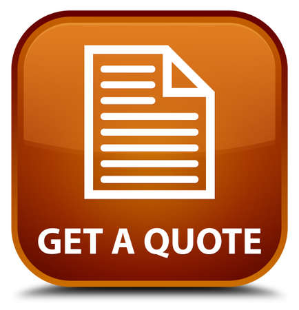 get: Get a quote (page icon) brown square button Stock Photo