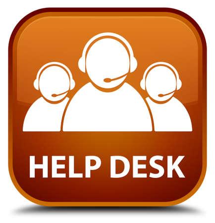 care: Help desk (customer care team icon) brown square button