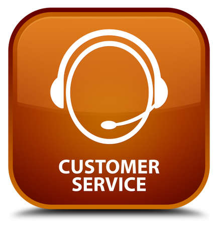 customer care: Customer service (customer care icon) brown square button