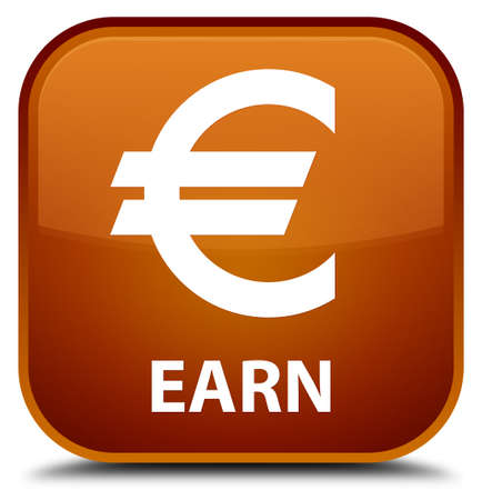 euro sign: Earn (euro sign) brown square button Stock Photo
