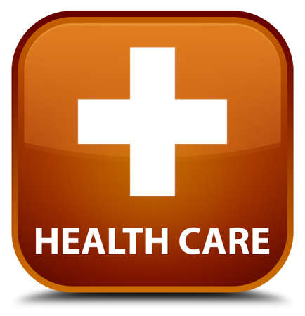 apothecary: Health care (plus sign) brown square button