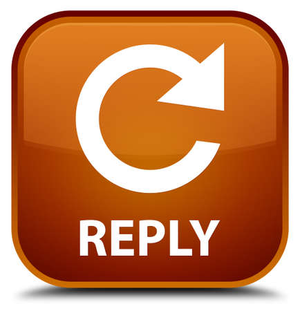 reply: Reply (rotate arrow icon) brown square button Stock Photo