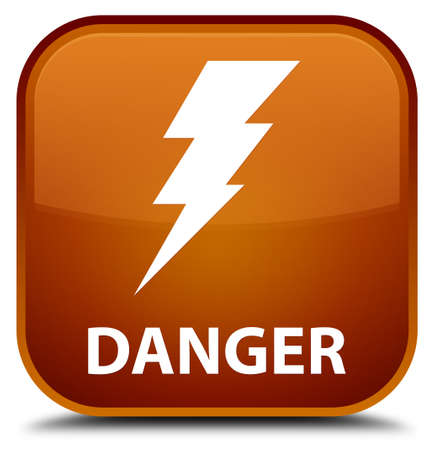 high voltage symbol: Danger (electricity icon) brown square button Stock Photo